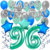 96. Geburtstag Dekorations-Set mit Ballons Happy Birthday Aquamarin, 34 Teile
