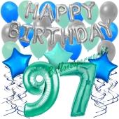 97. Geburtstag Dekorations-Set mit Ballons Happy Birthday Aquamarin, 34 Teile