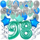 98. Geburtstag Dekorations-Set mit Ballons Happy Birthday Aquamarin, 34 Teile