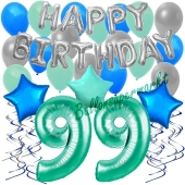 99. Geburtstag Dekorations-Set mit Ballons Happy Birthday Aquamarin, 34 Teile