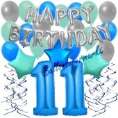 11. Geburtstag Dekorations-Set mit Ballons Happy Birthday Blue, 34 Teile