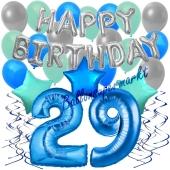 29. Geburtstag Dekorations-Set mit Ballons Happy Birthday Blue, 34 Teile