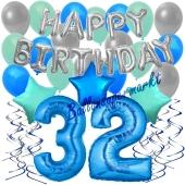 32. Geburtstag Dekorations-Set mit Ballons Happy Birthday Blue, 34 Teile