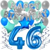 46. Geburtstag Dekorations-Set mit Ballons Happy Birthday Blue, 34 Teile