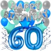 60. Geburtstag Dekorations-Set mit Ballons Happy Birthday Blue, 34 Teile
