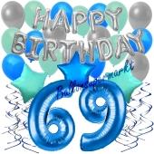 69. Geburtstag Dekorations-Set mit Ballons Happy Birthday Blue, 34 Teile