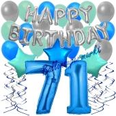 71. Geburtstag Dekorations-Set mit Ballons Happy Birthday Blue, 34 Teile