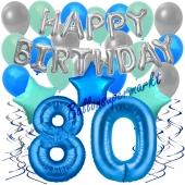 80. Geburtstag Dekorations-Set mit Ballons Happy Birthday Blue, 34 Teile
