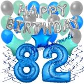 82. Geburtstag Dekorations-Set mit Ballons Happy Birthday Blue, 34 Teile