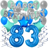 83. Geburtstag Dekorations-Set mit Ballons Happy Birthday Blue, 34 Teile