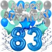 83. Geburtstag Dekorations-Set mit Ballons Happy Birthday Blue, 34 Teile
