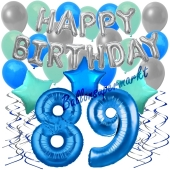 89. Geburtstag Dekorations-Set mit Ballons Happy Birthday Blue, 34 Teile
