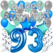 93. Geburtstag Dekorations-Set mit Ballons Happy Birthday Blue, 34 Teile