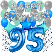 95. Geburtstag Dekorations-Set mit Ballons Happy Birthday Blue, 34 Teile