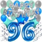 96. Geburtstag Dekorations-Set mit Ballons Happy Birthday Blue, 34 Teile