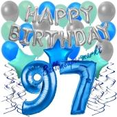 97. Geburtstag Dekorations-Set mit Ballons Happy Birthday Blue, 34 Teile