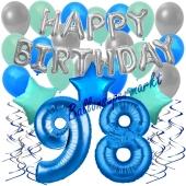 98. Geburtstag Dekorations-Set mit Ballons Happy Birthday Blue, 34 Teile
