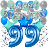 99. Geburtstag Dekorations-Set mit Ballons Happy Birthday Blue, 34 Teile