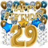 Dekorations-Set mit Ballons zum 29. Geburtstag, Happy Birthday Chrome Blue & Gold, 34 Teile