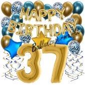 Dekorations-Set mit Ballons zum 37. Geburtstag, Happy Birthday Chrome Blue & Gold, 34 Teile