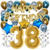 Dekorations-Set mit Ballons zum 38. Geburtstag, Happy Birthday Chrome Blue & Gold, 34 Teile
