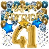 Dekorations-Set mit Ballons zum 41. Geburtstag. Geburtstag, Happy Birthday Chrome Blue & Gold, 34 Teile