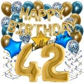 Dekorations-Set mit Ballons zum 42. Geburtstag. Geburtstag, Happy Birthday Chrome Blue & Gold, 34 Teile
