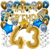 Dekorations-Set mit Ballons zum 43. Geburtstag. Geburtstag, Happy Birthday Chrome Blue & Gold, 34 Teile