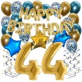 Dekorations-Set mit Ballons zum 44. Geburtstag. Geburtstag, Happy Birthday Chrome Blue & Gold, 34 Teile