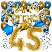 Dekorations-Set mit Ballons zum 45. Geburtstag. Geburtstag, Happy Birthday Chrome Blue & Gold, 34 Teile