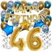 Dekorations-Set mit Ballons zum 46. Geburtstag. Geburtstag, Happy Birthday Chrome Blue & Gold, 34 Teile