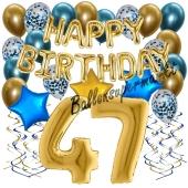 Dekorations-Set mit Ballons zum 47. Geburtstag. Geburtstag, Happy Birthday Chrome Blue & Gold, 34 Teile