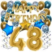 Dekorations-Set mit Ballons zum 48. Geburtstag. Geburtstag, Happy Birthday Chrome Blue & Gold, 34 Teile