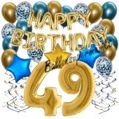 Dekorations-Set mit Ballons zum 49. Geburtstag. Geburtstag, Happy Birthday Chrome Blue & Gold, 34 Teile