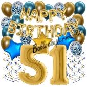 Dekorations-Set mit Ballons zum 51. Geburtstag. Geburtstag, Happy Birthday Chrome Blue & Gold, 34 Teile