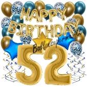 Dekorations-Set mit Ballons zum 52. Geburtstag. Geburtstag, Happy Birthday Chrome Blue & Gold, 34 Teile