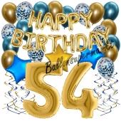 Dekorations-Set mit Ballons zum 54. Geburtstag. Geburtstag, Happy Birthday Chrome Blue & Gold, 34 Teile