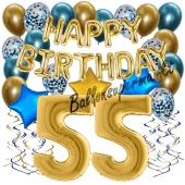 Dekorations-Set mit Ballons zum 55. Geburtstag. Geburtstag, Happy Birthday Chrome Blue & Gold, 34 Teile