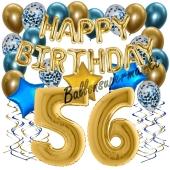 Dekorations-Set mit Ballons zum 56. Geburtstag. Geburtstag, Happy Birthday Chrome Blue & Gold, 34 Teile