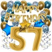 Dekorations-Set mit Ballons zum 57. Geburtstag. Geburtstag, Happy Birthday Chrome Blue & Gold, 34 Teile