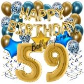 Dekorations-Set mit Ballons zum 59. Geburtstag. Geburtstag, Happy Birthday Chrome Blue & Gold, 34 Teile