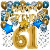 Dekorations-Set mit Ballons zum 61. Geburtstag. Geburtstag, Happy Birthday Chrome Blue & Gold, 34 Teile