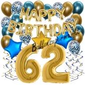 Dekorations-Set mit Ballons zum 62. Geburtstag. Geburtstag, Happy Birthday Chrome Blue & Gold, 34 Teile