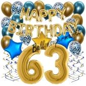 Dekorations-Set mit Ballons zum 63. Geburtstag. Geburtstag, Happy Birthday Chrome Blue & Gold, 34 Teile