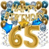Dekorations-Set mit Ballons zum 65. Geburtstag, Happy Birthday Chrome Blue & Gold, 34 Teile