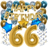 Dekorations-Set mit Ballons zum 66. Geburtstag, Happy Birthday Chrome Blue & Gold, 34 Teile