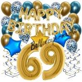 Dekorations-Set mit Ballons zum 69. Geburtstag, Happy Birthday Chrome Blue & Gold, 34 Teile