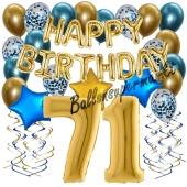 Dekorations-Set mit Ballons zum 71. Geburtstag, Happy Birthday Chrome Blue & Gold, 34 Teile