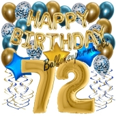 Dekorations-Set mit Ballons zum 72. Geburtstag, Happy Birthday Chrome Blue & Gold, 34 Teile