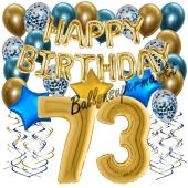 Dekorations-Set mit Ballons zum 73. Geburtstag, Happy Birthday Chrome Blue & Gold, 34 Teile
